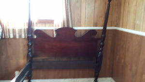 ANTIQUE 4 POSTER-FRAME MAHOGANY BED - DOUBLE