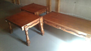 solid maple coffee table and 2 end tables