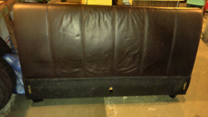 Queen size brown leather headboard