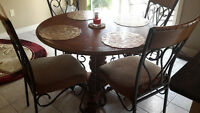 Wood and Wrought Iron Kitchen Set with 4 chairs