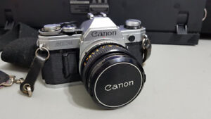 Canon AE-1 35mm SLR Camera with Accessories