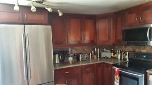 REDUCED! Solid wood kitchen cabinets with soft close hinges.