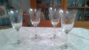 4--Crystal etched wine glasses