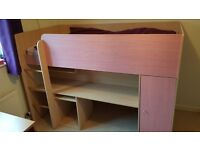 Girls Pink Wooden Hi Sleeper Single Bed Malibu Design
