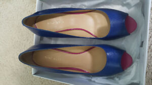 Nine West Blue Leather Open Toe Heels