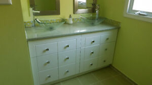 Sinks x 2/Faucets/Granite Countertop and cabinet/Mirrors