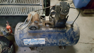 Air compressor, drill press and welder