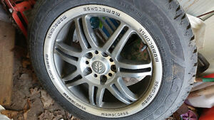 Snow tires mounted on rims