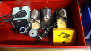 Lots of soldering tools and accessories for electronic hobby