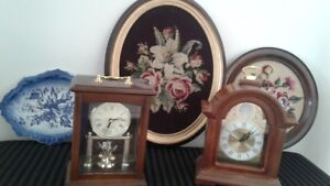Clocks, needlepoint in frames, blue rose plate