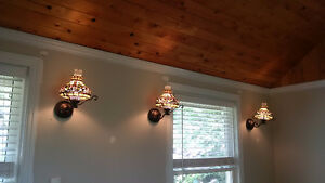 Set of 6 stained glass wall sconces