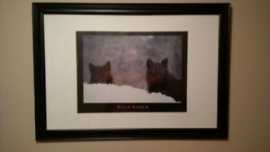 """Wolf Watch"" large 40""x28"" framed picture / wall art / hanging"
