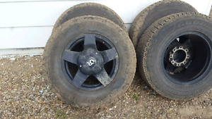"""17"""" aftermarket rims and 10 ply Goodyear winter tires"""