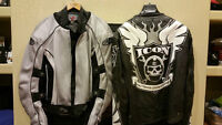 Two riding jackets, Joe Rocket and ICON, both M size