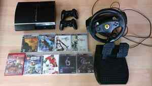PS3 fat with 320GB 2 controllers and racing wheel 9 games Cambridge Kitchener Area image 1