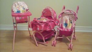 Disney Princess stroller, highchair and cot for sale - Ajax