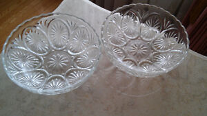 4 antique German handcut lead crystal dishes.