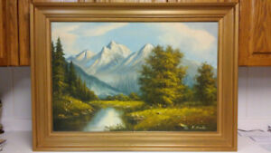 Beautiful vintage big size original landscape oil painting