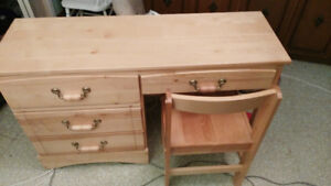 Wooden desk and chair set, sturdy, with sleek varnish finish