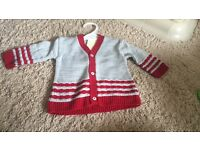 Grey and red stripped cardigan