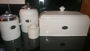 Bread box and kitchen canisters- william sonoma