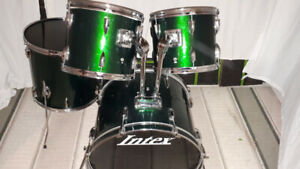 Green Intex drum shell pack with pearl tom arms