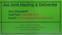 Junk Removal / Deliveries & Yard Cleanups . . . (639)-999-1070