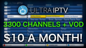 ULTRA IPTV   3300 CHANNELS & VOD   $10 A MONTH!   NO FREEZING!