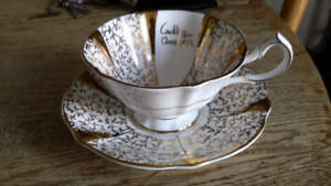"Ens.  tasse Queen Anne gold lace ""wedding anniversary"""