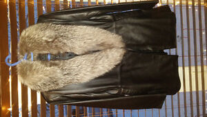 authentic 100% real leather & fur coat