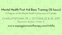 Mental Health First Aid Basic Training--Charlottetown, Oct 25&26