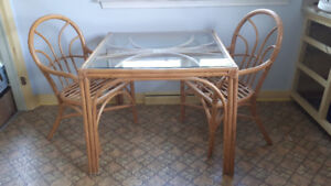 Bamboo dining table and 4 chairs