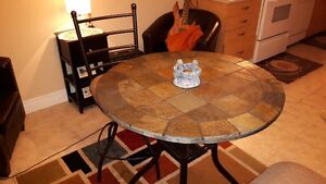 Beautiful Bar Height Slate Table and Swivel Chairs
