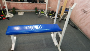 Bench with weights and bar