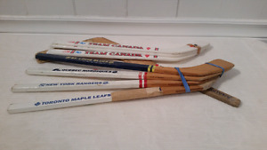 8 Miniature Hockey Sticks