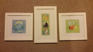 3 matching white baby frames for nursery