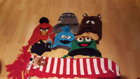 5 winter hats, scarf, gloves,  boys, kid, 5-6-7 year old, tuque
