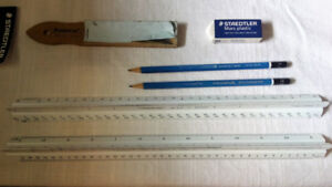 Staedtler Compass Set and Architectural Triangular Scale Rulers