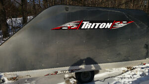 Like new enclosed double triton trailering