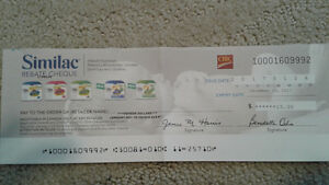 Similac $15 rebate cheque