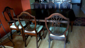 Dining room set mahogany table chairs sideboard inserts