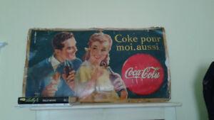 ❤Publicité Antique Coca Cola- Antique Coca Cola Sign ❤