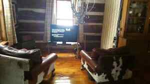 2 - LARGE authentic cowhide lounge chairs