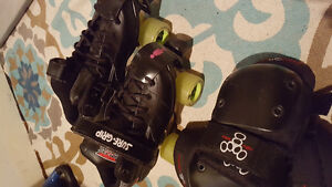 Roller skates, size mens 7 + knee and elbow pads