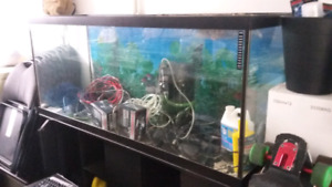 120 Gallon Fish Tank with filter, light, water pump, and stand