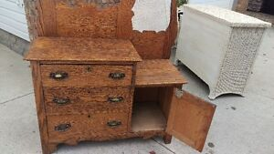 Beautiful Antique Solid Oak Dresser Wash Stand Combo