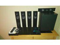 Sony blu Ray home cinema surround sound system, 4K upscaling.