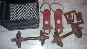 Vintage old fashioned foot weights dumbbells $30