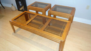 Coffee Table + 2 End tables with glass inserts