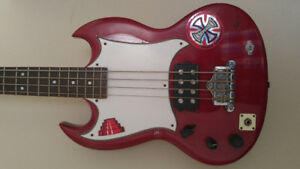 Epiphone EB-O Short Scale Bass Guitar, Left Handed and Modded